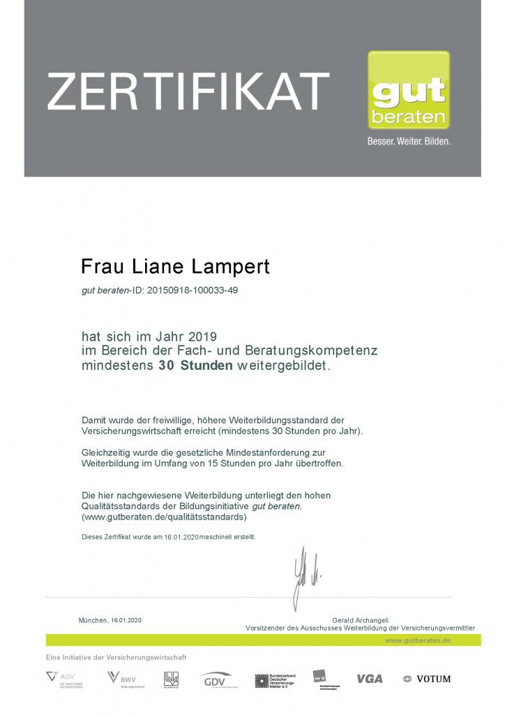 Liane Lampert Weiterbildungszertifikat 2019 Bertungsinitiative gut beraten